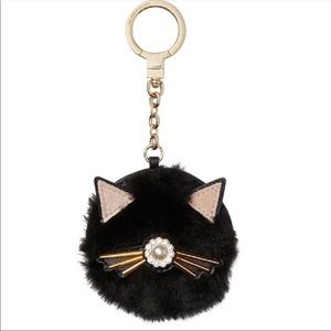 Kate Spade - NWT Black Cat Fuzzy Pouf Purse Charm